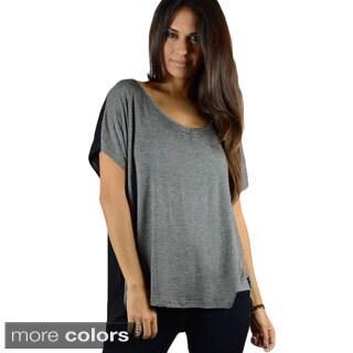 Concept Women's Ruched V-neck Colorblock T-shirt