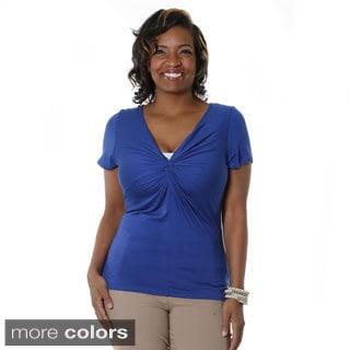 Hadari Women's Plus-size Short Sleeve Wrap Blouse