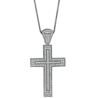 Sterling Silver Micropave Fancy Cross Pendant with Cubic Zirconia