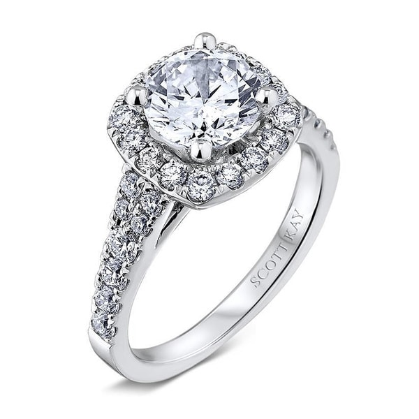 Scott Kay Radiance Round Diamond Pave Platinum Semi: Scott Kay Palladium Silver 1/2ct TDW Diamond Semi Mount
