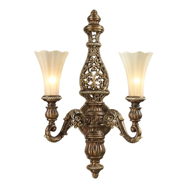 Allesandria Burnt Bronze/ Weathered Gold Leaf 2-light Sconce