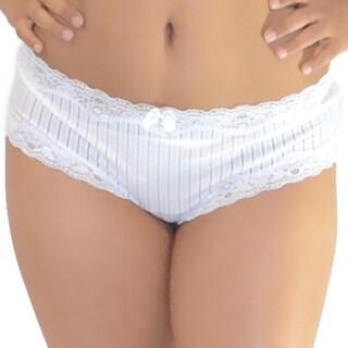 Prestige Biatta Plus Size White Microfiber Sheer Striped Hipster Panty
