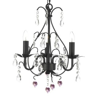 Wrought Iron and Crystal 3 Light Swag Plug In Chandelier with Pink Crystal Hearts