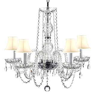 Venetian Style All Crystal 5 Light Chandelier with White Shades