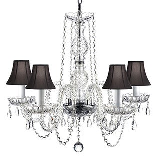 Venetian Style All Crystal 5 Light Chandelier with Black Shades