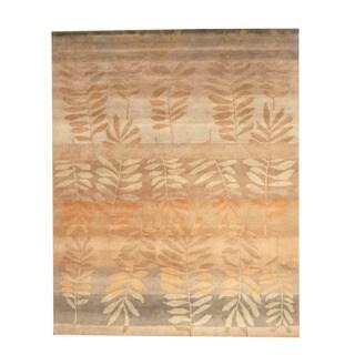 Herat Oriental Indo Hand-knotted Tibetan Brown/ Beige Wool Rug (8' x 10')