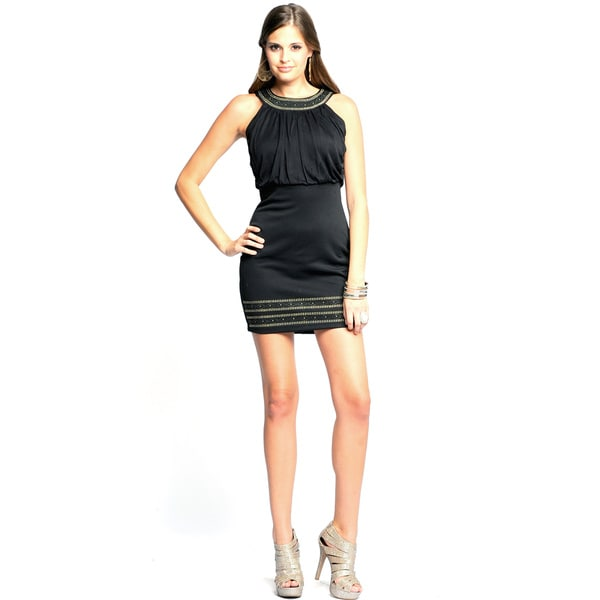 Sara Boo Women's Black Embellished Halter Neck Dress (Small)
