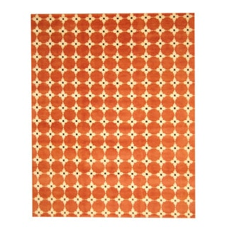 Herat Oriental Indo Hand-knotted Tibetan Red/ Brown Wool Rug (8' x 10')