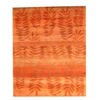 Herat Oriental Indo Hand-knotted Tibetan Orange/ Beige Wool Rug (8' x 10')