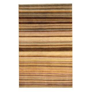 Herat Oriental Indo Hand-knotted Tibetan Brown/ Beige Wool Rug (5' x 8')