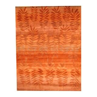 Herat Oriental Indo Hand-knotted Tibetan Orange/ Red Wool Rug (9' x 12')