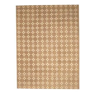 Herat Oriental Indo Hand-knotted Tibetan Brown/ Beige Wool Rug (9' x 12')