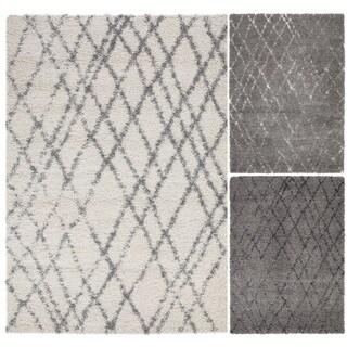 "Beni Ourain Inspired Contemporary Moroccan Trellis Design Plush Shaggy Area Rug (3'3""X4'7"")"