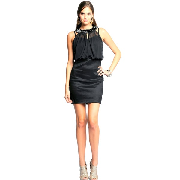 Sara Boo Women's Black Jewel Embellished Blouson Dress (Small)