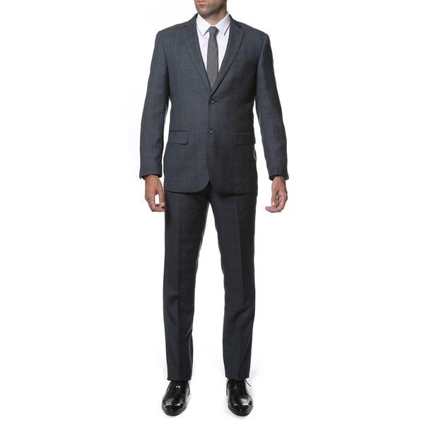 Zonettie-Ferrecci Mens Slim Fit Plaid 2-button Suit