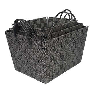 Black Woven Storage Baskets with Handles (Set of 3)