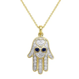 Beverly Hills Charm 10K Gold 1/5ct. TDW Diamond and Blue Sapphire HAMSA Necklace (H-I, I2-I3)