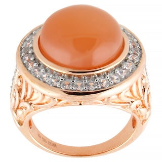Vermeil over Sterling Silver Peach Moonstone White Zircon Scrollwork Ring