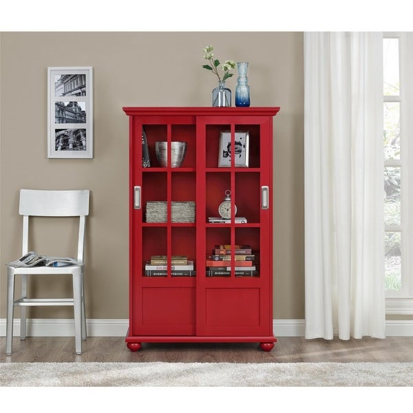 Altra Arron Lane Red Bookcase With Sliding Glass Doors 17148556