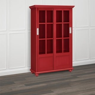 Altra Arron Lane Red Bookcase with Sliding Glass Doors