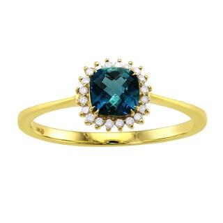 Beverly Hills Charm 10k Yellow Gold Blue Topaz and 1/12ct Diamond Halo Ring (H-I, I2-I3)