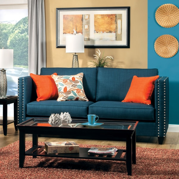 Furniture of America Jaymie Tuxedo Style Dark Turquoise Sofa