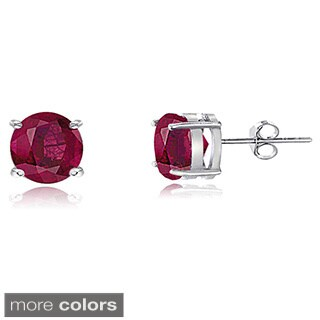 Glitzy Rocks Sterling Silver 4mm Glass-filled Ruby Stud Earrings