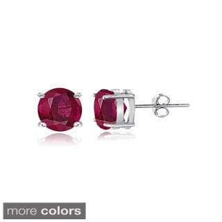 Glitzy Rocks Sterling Silver 1 1/5ct Glass Filled Ruby Stud Earrings, 5 mm