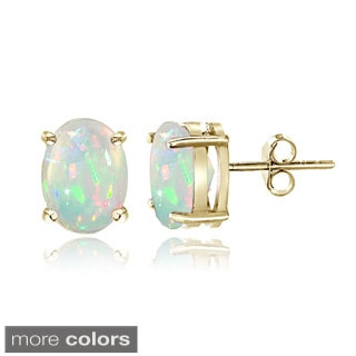 Glitzy Rocks Sterling Silver Ethiopian Opal Oval Stud Earrings