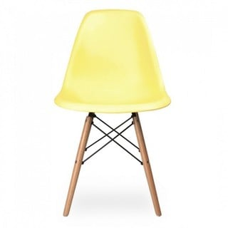 Contemporary Retro Molded Eames Style Light Yellow Accent Plastic Dining Shell Chair with Wood Eiffel Legs (Set of 1)