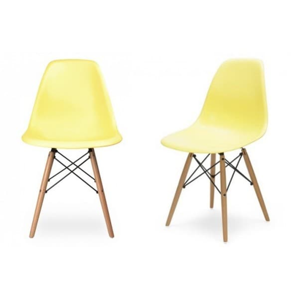 Retro Light Yellow Plastic Dining Shell Chair with Wood Eiffel Legs (Set of 2)