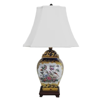 Royal Medallion Square Porcelain Cover Jar Lamp