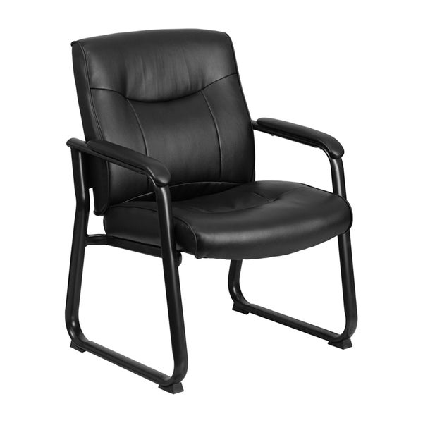 Offex HERCULES Series Big and Tall 500 lb. Capacity Black Leather Executive Side Chair with Sled Base OF-GO-2136-GG