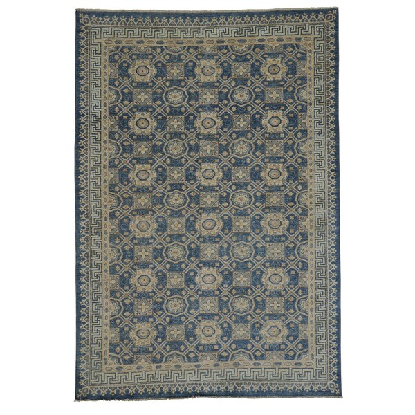 Washed-out Denim Blue Khotan Handmade Oriental Area Rug (6'2 x 9')