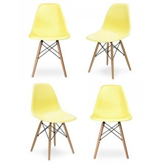 Retro Molded Light Yellow Plastic Dining Shell Chair with Wood Eiffel Legs (Set of 4)