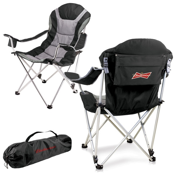 Black Budweiser Digital Print Reclining Camp Chair