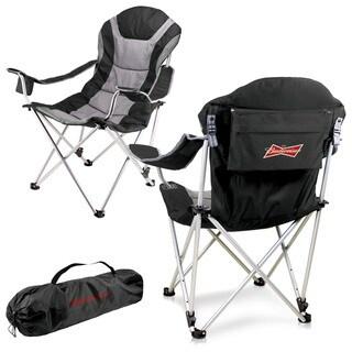 Black Budweiser Digital Print Reclining Camp Chair