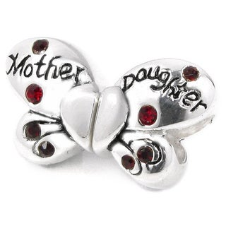 Queenberry Sterling Silver Red Cubic Zirconia Butterfly Heart European Bead Charm Set