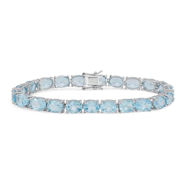 Sterling Silver Oval Gemstone Bracelet