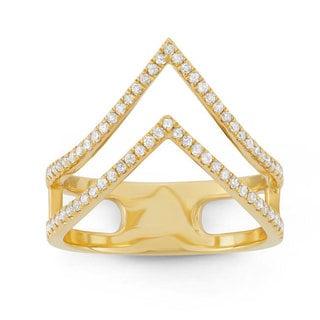 14k Yellow Gold 3/8ct TDW White Diamond Double 'V' Band Ring (G-H, I1-I2)