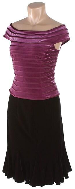 JS Collections Black Velvet Stretch Skirt