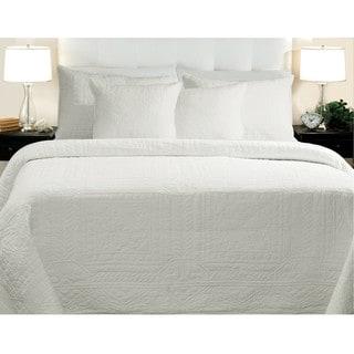 Adele Cotton White 3-piece Quilt Set