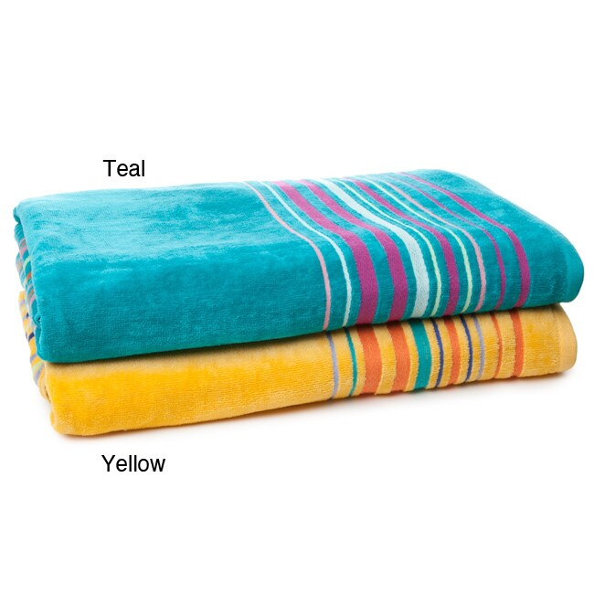 Alexander Julian Pinstripe Plaid Beach Towel (Set of 2)