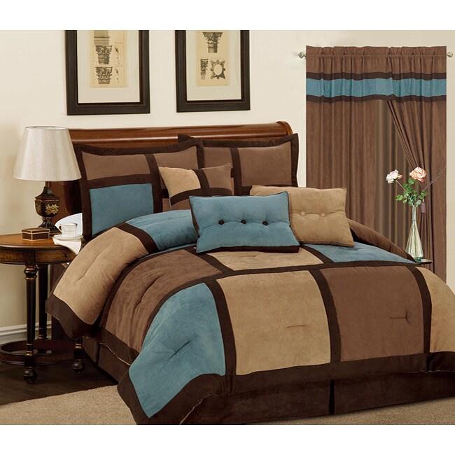 Aqua Blue Daren 7-piece Microsuede Comforter Set