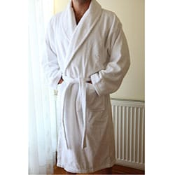 Authentic Hotel Spa Unisex White Turkish Cotton Terry Cloth Bathrobe