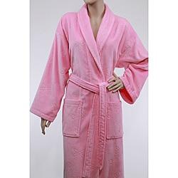 Authentic Pink Hotel Spa Floral Turkish Cotton Bathrobe