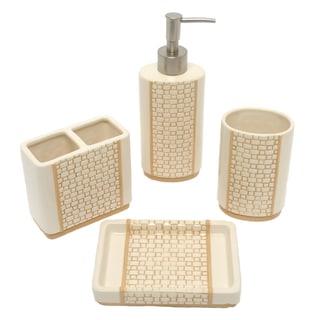 Ellie beige boutique bath accessory 4 piece set for Beige bathroom accessories set