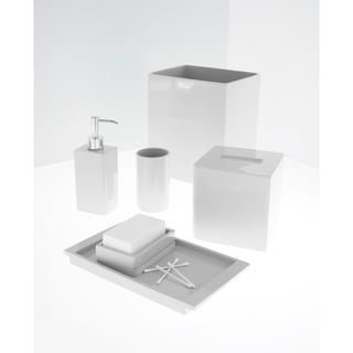 Solid lacquer white bath accessory collection overstock for White bath accessories sets