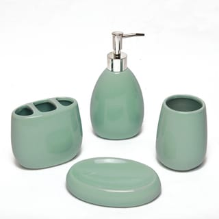 Waverly aqua ceramic bath accessory 4 piece set for Aqua bathroom accessories sets