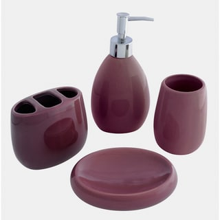 Waverly ceramic plum bath accessory 4 piece set for Plum bathroom accessories